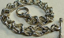 """VINTAGE MEXICAN STERLING SILVER DOUBLE LINK CHARM BRACELET w/A TOGGLE CLASP IS MARKED """"925 MEXICO"""", 7.5"""" LONG, 10 mm WIDE, WEIGHT - 24 g THE BRACELET IS IN EXCELLENT CONDITION Welcome to my listing - http://www.list4all.com/tatiana/ This piece and the"""