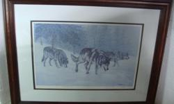 "Vintage Richard De Wolfe framed print Following the Scent, signed, and this is 57 out fro 2999, Full size is 26.3/4"" by 20. 7/8"" a print is 18"" by 12"". Nicely framed, glass on the front. I have another print from a same artist, "" The Howling"" Call if"