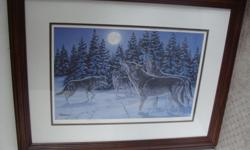 "Vintage Richard De Wolfe framed print The Howling, numbered and signed, this print is 20 from 2999. Full size is 26.3/4"" by 20. 7/8"" a print is 18"" by 12"". Nicely framed, glass on the front. Terminal/Townsite.I have another print same artist "" Following"