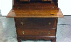 Vintage Krug Bros Co. Ltd. Walnut (3) Drawer, Secretary Writing Desk. In Pristine Condition. Measurements are: 41.5'' Tall x 30'' Wide x 14.5'' Deep.
