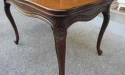 """Good and solid, vintage walnut side table. Minor surface wear and a few faint water marks. Measures 26 1/2"""" X 18"""" X 18"""" tall. Call or text, and if you email please leave name and phone number."""