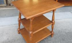 """Solid maple, vintage side table. Has some wear. Measures 21"""" X 16"""" X 26"""" tall. Call or text, and if you email please leave name and phone number."""