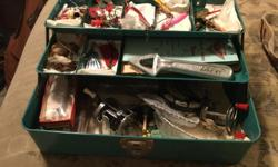 Vintage Liberty Steel Chest Corp. tackle box loaded with vintage lures. Also includes Bronson Fleetwing reel.