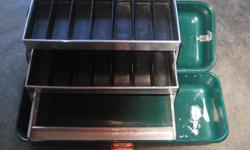 """VINTAGE UMCO CORPORATION GREEN FIBER TACKLE BOX WITH TRAY. Model 400-R. 18.5 x 7 x 6.5 in. or 47 x 18 x 16.5 cm. In very good condition. Its a house number so texting will not work. """"""""DO NOT"""""""" CALL BEFORE 8 am. OR AFTER 9:00 pm. CASH ONLY. PICKUP ONLY"""