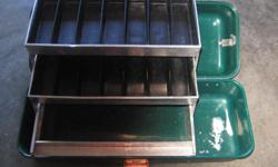 "VINTAGE UMCO CORPORATION GREEN TACKLE BOX WITH TRAY. Model 400-R. 18.5 x 7 x 6.5 in. or 47 x 18 x 16.5 cm. In very good condition. Its a house number so texting will not work. """"DO NOT"""" CALL BEFORE 8 am. OR AFTER 9:00 pm. CASH ONLY. PICKUP ONLY VIEW MAP"