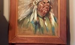 """A Rustic wood frame embraces this incredibly detailed canvas oil painted Chief. Beautiful Earthy Tones throughout. Artist ??? Signed """" McDermott"""" If you enjoy Western America type decor this oldtimer would make for an amazing wall feature. We have many"""