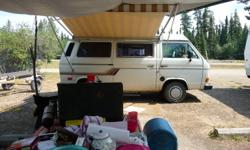 Apollo Awning Pop-up sleeps up to 4. Fridge, Stove and Sink set up for Propane. RV Hook up for power 1200 watt / 110 volt converter. 4 speed, water cooled engine Sirius stereo Roof Racks for up to 18 & 1/2' canoe Needs Windshield New Snow Tires New