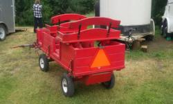 This is a wagon that I built from a kit. It is very solid. It has two seats, rear breaks and option of using shaft for a single horse or a pole for a pair. I used it with a single or pair of 12 hands welsh ponies.