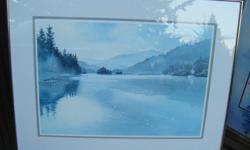 """Water colour framed print by Holland 30 3/4"""" wide & 23 3/4"""" high"""