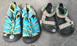 Keen's - excellent shape, size 2 youth $10 Teva's - hard to find, size 11 children's $10 Flippers - size 8-11 children's $2 Croc's - size 2 $5 Faux crocs - size 2 $2