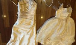 Harvest gold size 4 wedding dress by Maggie Sottero. Flower girl dress size 6. Ring bearer pillow. Please email for additional photos.