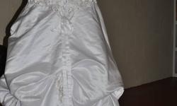 Attractive Ball-Gown Sweetheart Chapel Train Satin Wedding Dress with Embroidery Beadwork New Dress never worn email me for more information