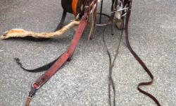"""16"""" saddle seat - double rigged. Handmade using rawhide wood tree. Includes blanket, bridle/split bit, chest-plate."""