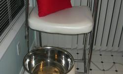 """This chair is in amazing condition. I stopped doing pedicures awhile ago, so there are no scratches, rips, tears and next to no wear on it. The foot stool is a good height so you don't hurt your back.   The measurements for the chair are: 44"""" high"""