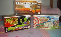 New Wii games,still in the boxes ,never opened.Three come with Custom Wheels .The games are:   ATV Quad Kings Chrysler Classic Racing Monster Truck Mayhem   Martian Panic Arcade Shooting Gallery DeerDrive   $20.00 a piece or $ 100.00 if you take them