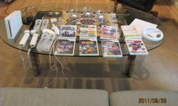 This package includes: a Wii console and all required wires, a Sensor bar, 2 Wii wireless controllers, 2 nunchuks, 2 Wii motion plus attachments, 4 Gel Cases (2 for use with the Wii motion Plus attachment and 2 for just the controller), Wii Fit Board and