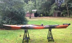 14 ft, rudder, good stable boat. Super comfortable, totally adjustable Wilderness Systems seat. In good condition.