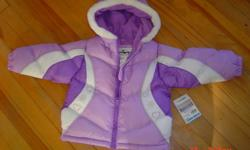 Sportek Winter Jacket, new with tag, never worn. Inside it has fleece and outside it is waterproof. Warm and comfortable Winter Jacket with hood. Was $35.00 plus tax when I bought it. It did not fit my little one anymore once winter came...No stains or