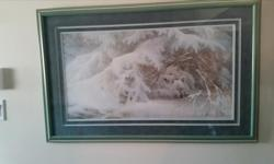 """Artist- Duane Geisness - Please View Artist's Website Limited Edition- Print- 274/950 Winter Lullaby - Wilderness Collection Beautifully framed Wolf Print with non-glare glass! 42.5""""x 27"""" originally $975 plus $300 for frame and MORE FOR glass $550 -"""