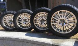 SET of FOUR FEDERAL HIMALAYA 205/55R16 91H WINTER TIRES on VOLVO RIMS GOOD TREAD