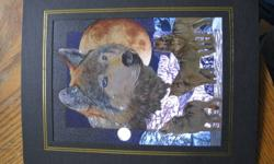 Hi I am selling this wolf  picture. I bought it and never put it up. Its a 6x10 and comes in a black/gold cardboard frame. I think this is a scratch art picture but not quite sure. Call or Text me at 587 877 7230. Email is fine too but I prefer phone. If