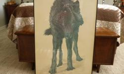 """BLACK WOLF PRINT FRAMED UNDER GLASS - 25"""" X 34"""" - NO ROOM FOR IT."""
