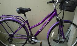 Women's 21-speed bicycle (model: Schwinn). Made for road and mountains. It has a metallic, retractable basket attached. Easy for shopping and carrying your purse and purchases.