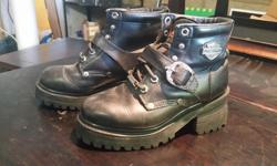 """2 pairs of Motorcycle boots with 2"""" heels. Both in EXCELLENT shape 1. Size 5.5 short leather Harley Davidson boots. $30 2. Size 6 leather motorcycle boots with chains. $25 See my other ads..."""