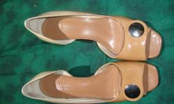 "WOMENS FRANCO SARTO LIGHT TAN / BEIGE OPEN TOE WEDGE HEEL ABOUT 2"" SHOE SIZE: 9 1/2 M IN EXCELLENT USED CONDITION. GREAT FOR SUMMER, WEAR TO WEDDINGS OR PARTIES"