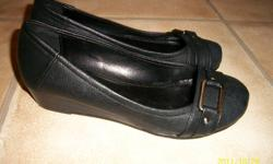 """Brand New!!! Never Been Worn Size 6 Black with Silver buckle on front 1-1 1/2"""" wedge style heel   $10.00"""