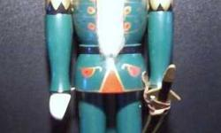 """3 Wooden Nutcrackers - The Large one is green, has a sword, and is approx. 14"""" tall - $10. The other two are approx. 10"""" tall, one is green and one is blue for $7.50 each. Or take all three for only $20. Thank you"""