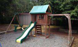 Wooden playhouse with swings, slide, monkey bars and clubhouse area. Our kids have loved this playhouse! Over $1,000 new...asking $250 now. Its a few years old now but still in pretty good condition. Fresh paint and a couple of new boards would make it
