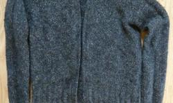 wool sweater size Womens Extra Small full zip up front, double zipper so you can open from the top or bottom by Giordano Quality Apparel short collar long sleeved dark grey great layering piece 60% wool 20% silk 20% nylon From my pet-free & smoke-free