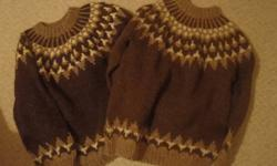 2 sets of wool handmade sweaters.(man and lady's) one chocolate brown with beige one grey and blue $50 each or 2 for $100