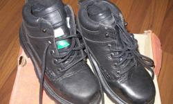 WORK BOOTS (Dokota) - SAFETY APPROVED - STEEL TOE CAPPED - BLACK LEATHER LACE UP - SIZE 7.5 - *WORN ONCE*  Paid $130.00