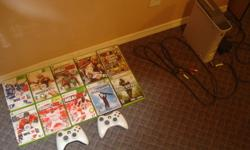 XBOX 360 + WIRELESS CONTROLLERS HD CHORD INCLUDED   Games Include ...   NHL 12 NHL 10 MLB 2K11 MADDEN 11 NBA 2K11 NBA 2K9 AMPED SNOWBOARDING UFC UNDISPUTED GRAND THEFT AUTO - SAN ANDREAS CALL OF DUTY 4 - MODERN WARFARE     $200     Contact for more