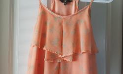 Like New. Peachy/orange colored tank top with torquoise colored palm trees. Posted with Used.ca app