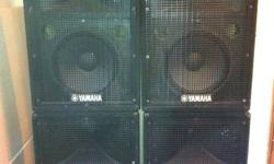 """MUST SELL. PRICE REDUCED. MAKE OFFER. 2 high powered touring quality 15"""" speakers with 2 inch horns ( 3 inch titanium HF drivers) Beautiful sounding. Flyable. Bi-ampable. Speakon connections. 700 watts program. $200 each. sold as pair. picture shows 4"""