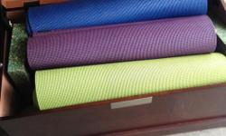 Halfmoon yoga mats, in great shape, barely used. 10 in total - blue, green and purple colours. Also available are yoga blocks and straps.