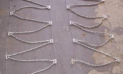 Lightning Cable Chains, product # SZ 331, made by Quality Chain Corp. Includes rubber tension adjusters, and carry bag.  See pic for all sizes they fit, or Google manufacturers website for other sizes they might fit. Never used, installed once to see if